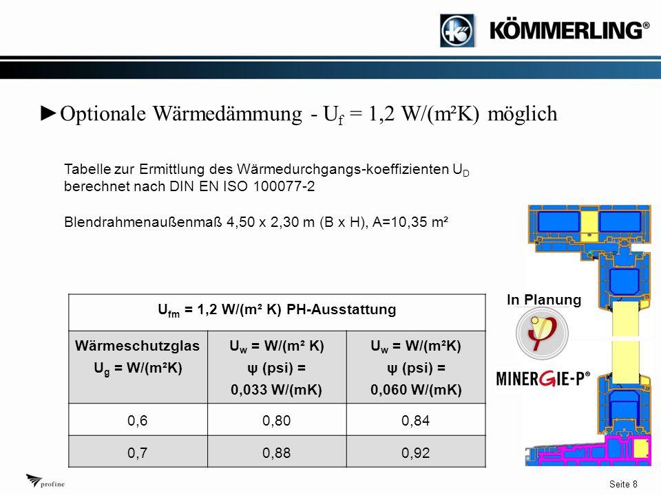 Seite 8 ► Optionale Wärmedämmung - U f = 1,2 W/(m²K) möglich U fm = 1,2 W/(m² K) PH-Ausstattung Wärmeschutzglas U g = W/(m²K) U w = W/(m² K) ψ (psi) = 0,033 W/(mK) U w = W/(m²K) ψ (psi) = 0,060 W/(mK) 0,60,800,84 0,70,880,92 Tabelle zur Ermittlung des Wärmedurchgangs-koeffizienten U D berechnet nach DIN EN ISO 100077-2 Blendrahmenaußenmaß 4,50 x 2,30 m (B x H), A=10,35 m² In Planung