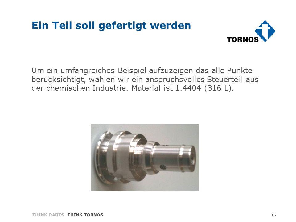 15 THINK PARTS THINK TORNOS Ein Teil soll gefertigt werden Um ein umfangreiches Beispiel aufzuzeigen das alle Punkte berücksichtigt, wählen wir ein anspruchsvolles Steuerteil aus der chemischen Industrie.
