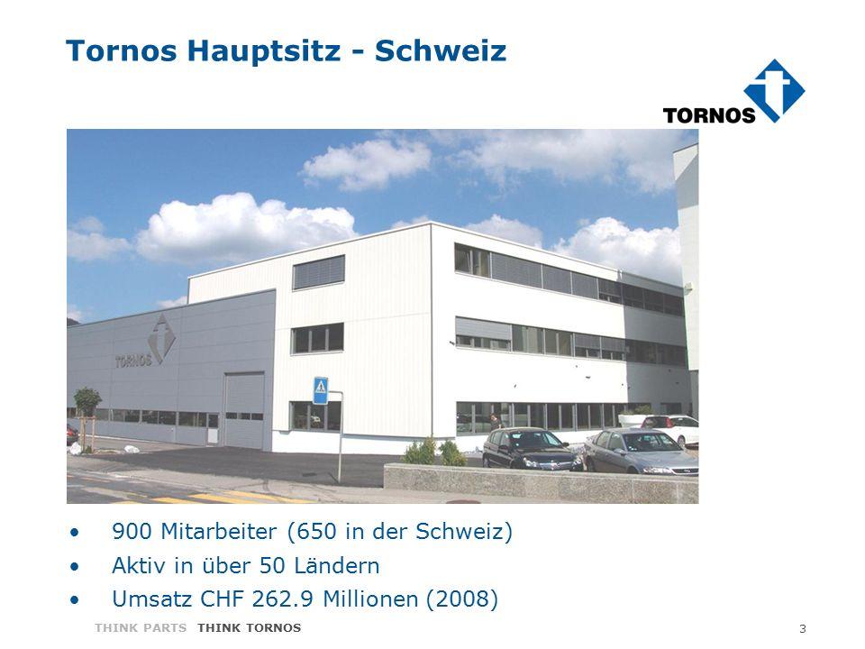 3 THINK PARTS THINK TORNOS Tornos Hauptsitz - Schweiz 900 Mitarbeiter (650 in der Schweiz) Aktiv in über 50 Ländern Umsatz CHF 262.9 Millionen (2008)