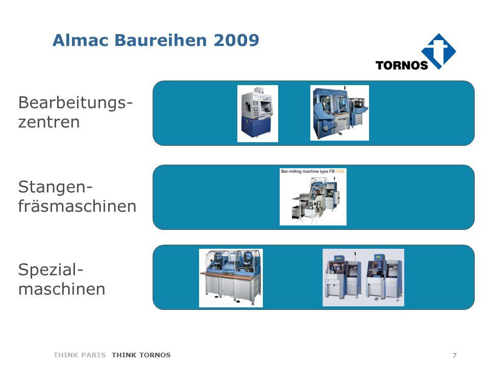 7 THINK PARTS THINK TORNOS Bearbeitungs- zentren Stangen- fräsmaschinen Spezial- maschinen Almac Baureihen 2009