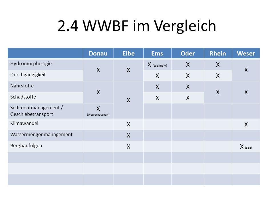 2.4 WWBF im Vergleich DonauElbeEmsOderRheinWeser Hydromorphologie XX X (Sediment) XX X Durchgängigkeit XXX Nährstoffe X X XX XX Schadstoffe XX Sedimentmanagement / Geschiebetransport X (Wasserhaushalt) Klimawandel XX Wassermengenmanagement X Bergbaufolgen XX (Salz)