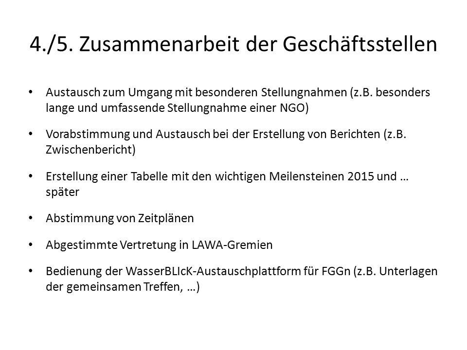 4./5. Zusammenarbeit der Geschäftsstellen Austausch zum Umgang mit besonderen Stellungnahmen (z.B.