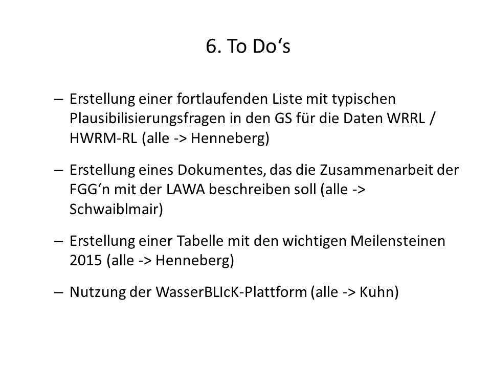 6. To Do's – Erstellung einer fortlaufenden Liste mit typischen Plausibilisierungsfragen in den GS für die Daten WRRL / HWRM-RL (alle -> Henneberg) –