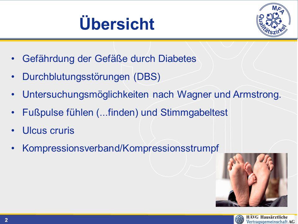 2 Gefährdung der Gefäße durch Diabetes Durchblutungsstörungen (DBS) Untersuchungsmöglichkeiten nach Wagner und Armstrong. Fußpulse fühlen (...finden)