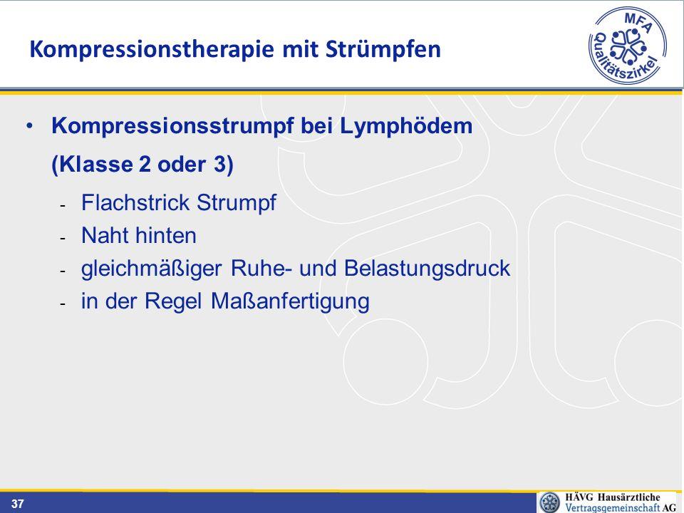 37 Kompressionsstrumpf bei Lymphödem (Klasse 2 oder 3) - Flachstrick Strumpf - Naht hinten - gleichmäßiger Ruhe- und Belastungsdruck - in der Regel Ma