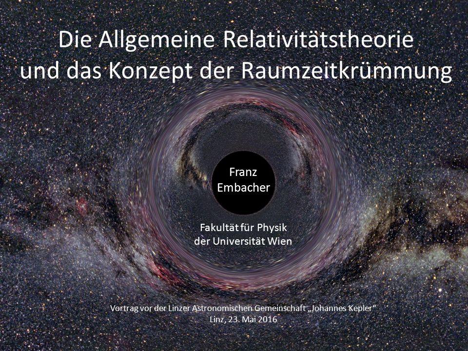 Das Konzept der Raumzeit-Krümmung 1.Allgemeine Relativitätstheorie 2.(Nicht-)Euklidische Geometrie 3.Die Wanze auf der heißen Ofenplatte 4.Kausalstruktur und Lichtkegel 5.Kausalstruktur eines Schwarzen Lochs 6.Raumkrümmung in der Nähe eines Schwarzen Lochs 7.Trichtermodell 8.Äquivalenzprinzip 9.SRT, Metrik, Geraden, Geodäten und Sphären 10.Raum-Zeit-Krümmung in der Nähe von Himmelskörpern 11.Krümmungsradius und Lichtablenkung 12.Raum-Zeit-Krümmung im expandierenden Universum 13.Gravitationswellen