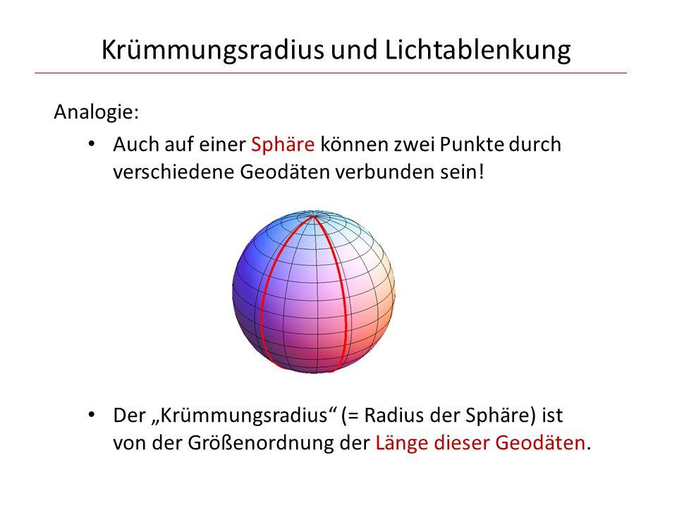 Krümmungsradius und Lichtablenkung Analogie: Auch auf einer Sphäre können zwei Punkte durch verschiedene Geodäten verbunden sein.