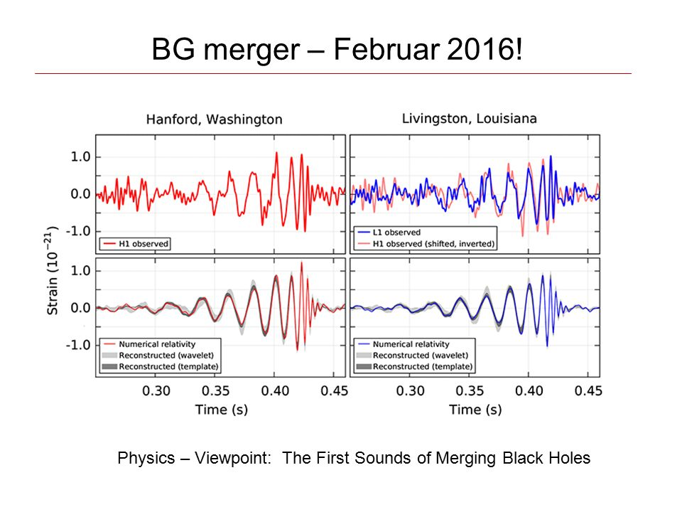 BG merger – Februar 2016! Physics – Viewpoint: The First Sounds of Merging Black Holes