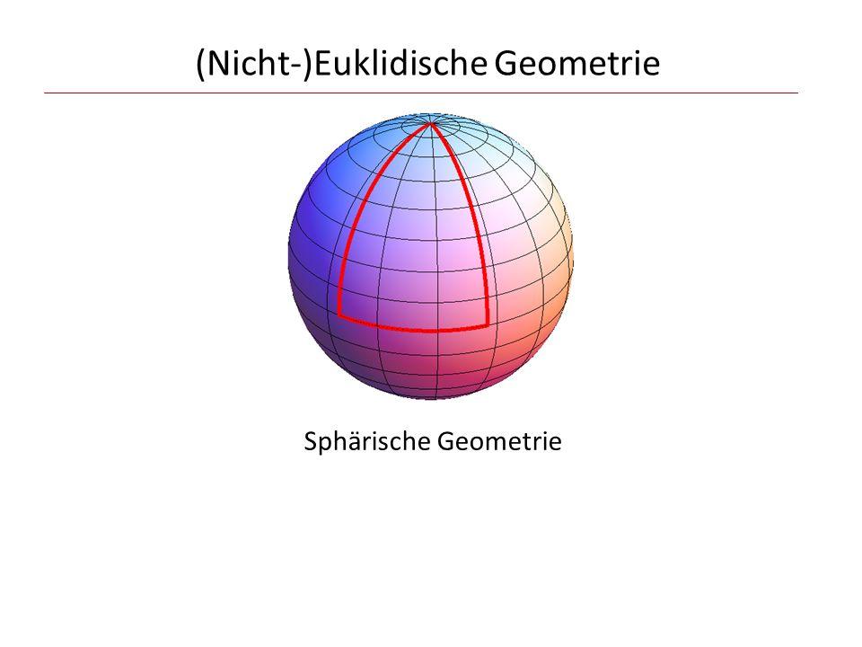 (Nicht-)Euklidische Geometrie Krümmung Maß für die Abweichung von den Regeln und Aussagen der Euklidischen Geometrie Sphärische Geometrie
