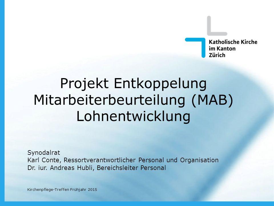 Projekt Entkoppelung Mitarbeiterbeurteilung (MAB) Lohnentwicklung Synodalrat Karl Conte, Ressortverantwortlicher Personal und Organisation Dr.