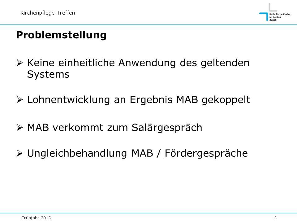 Frühjahr 20152 Kirchenpflege-Treffen Problemstellung  Keine einheitliche Anwendung des geltenden Systems  Lohnentwicklung an Ergebnis MAB gekoppelt  MAB verkommt zum Salärgespräch  Ungleichbehandlung MAB / Fördergespräche