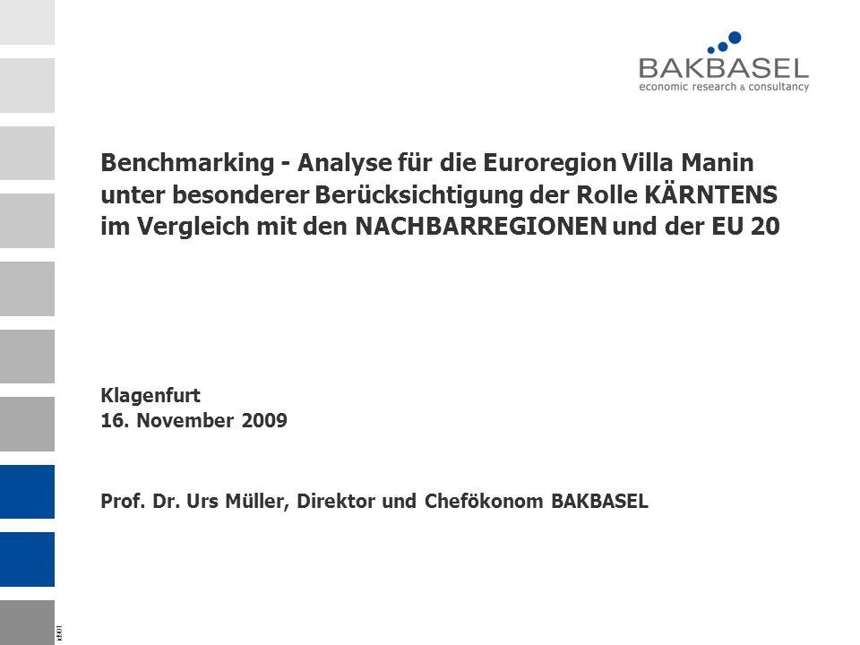 id901 Benchmarking - Analyse für die Euroregion Villa Manin unter besonderer Berücksichtigung der Rolle KÄRNTENS im Vergleich mit den NACHBARREGIONEN und der EU 20 Klagenfurt 16.