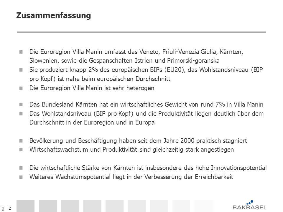 id901 23 Zusammenfassung - Wirtschaftsleistung der Euroregion Villa Manin und Kärnten im Vergleich mit der EU20 Bemerkung: Euroregion Villa Manin und Kärnten im Vergleich zum europäischen Durchschnitt (EU20 = 100).