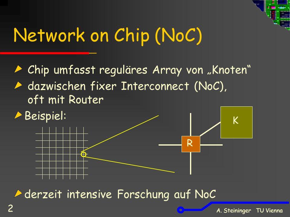 """A. Steininger TU Vienna 2 Network on Chip (NoC) Chip umfasst reguläres Array von """"Knoten"""" dazwischen fixer Interconnect (NoC), oft mit Router Beispiel"""