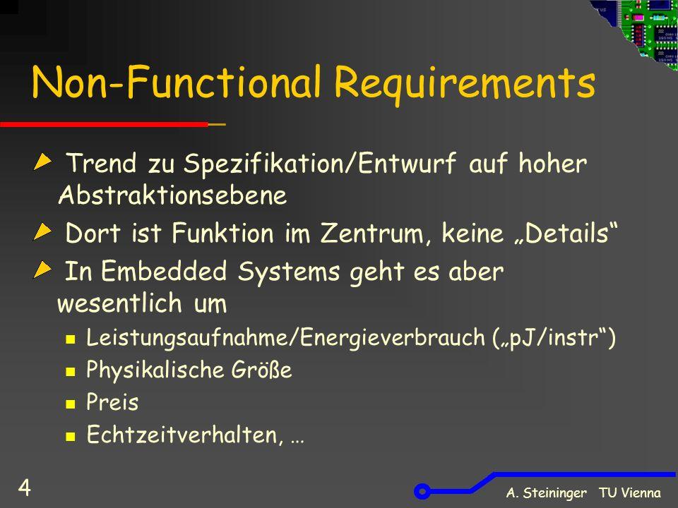 """Non-Functional Requirements Trend zu Spezifikation/Entwurf auf hoher Abstraktionsebene Dort ist Funktion im Zentrum, keine """"Details"""" In Embedded Syste"""