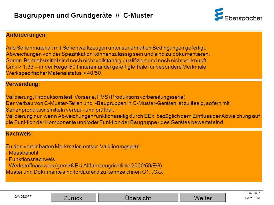 QW 0220FF QEC / PLA 12.07.2013 Baugruppen und Grundgeräte // C-Muster Seite / 10 Verwendung: Validierung, Produktionstest, Vorserie, PVS (Produktionsv