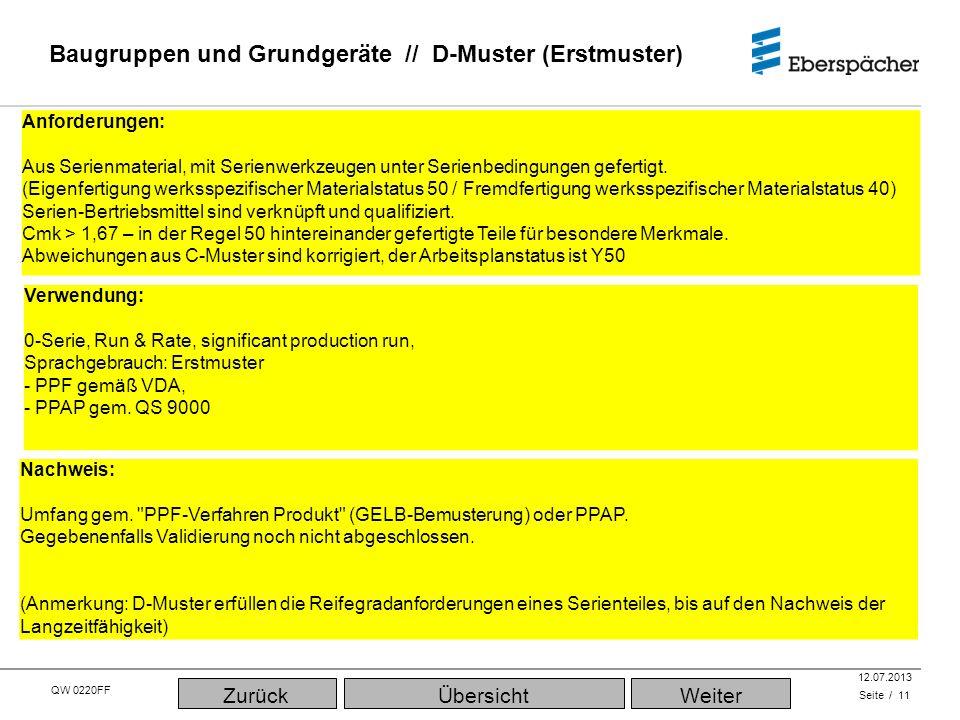 QW 0220FF QEC / PLA 12.07.2013 Baugruppen und Grundgeräte // D-Muster (Erstmuster) Seite / 11 ÜbersichtWeiterZurück Anforderungen: Aus Serienmaterial, mit Serienwerkzeugen unter Serienbedingungen gefertigt.