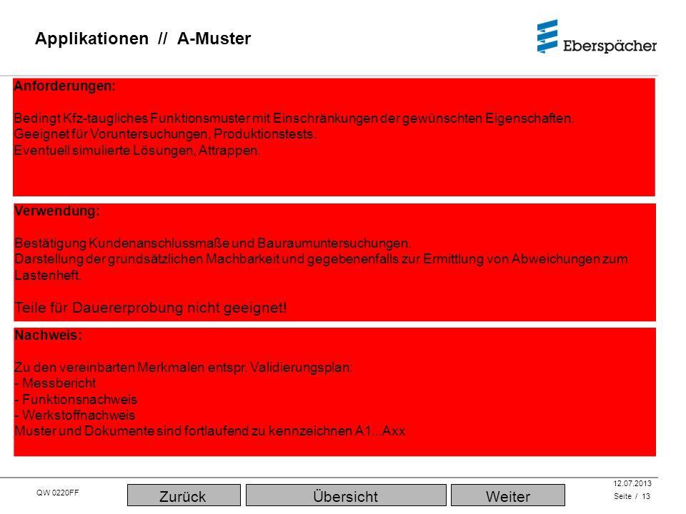 QW 0220FF QEC / PLA 12.07.2013 Applikationen // A-Muster Seite / 13 Verwendung: Bestätigung Kundenanschlussmaße und Bauraumuntersuchungen.