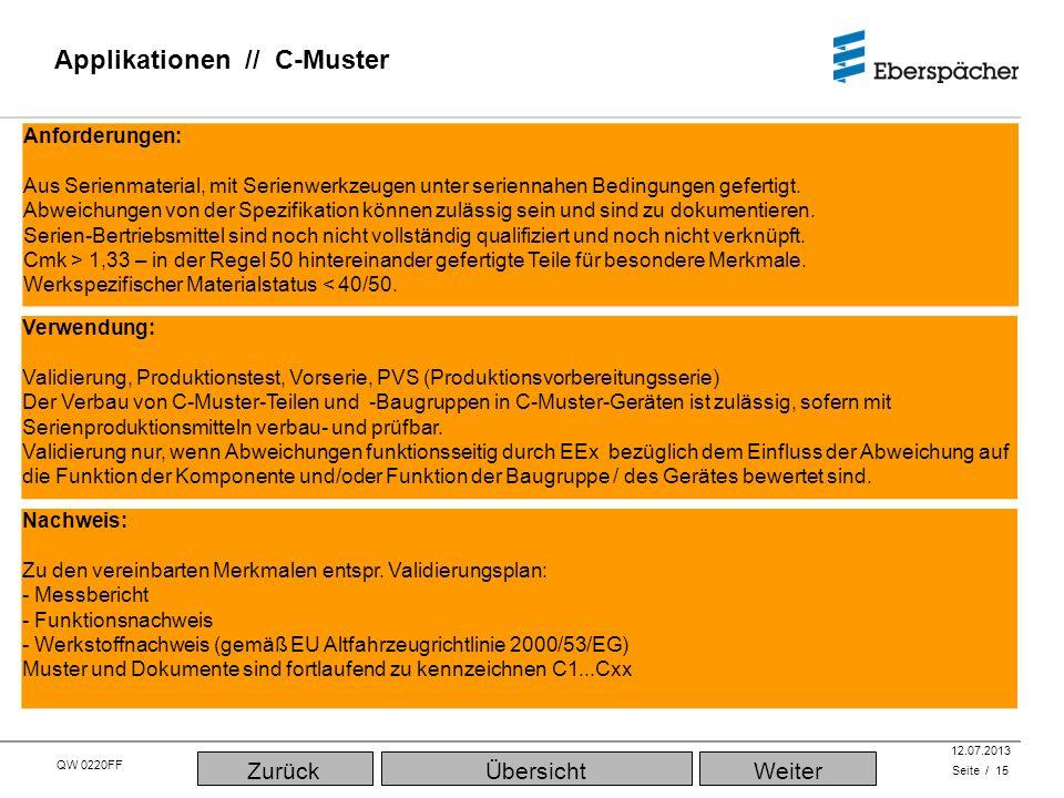 QW 0220FF QEC / PLA 12.07.2013 Applikationen // C-Muster Seite / 15 Nachweis: Zu den vereinbarten Merkmalen entspr. Validierungsplan: - Messbericht -