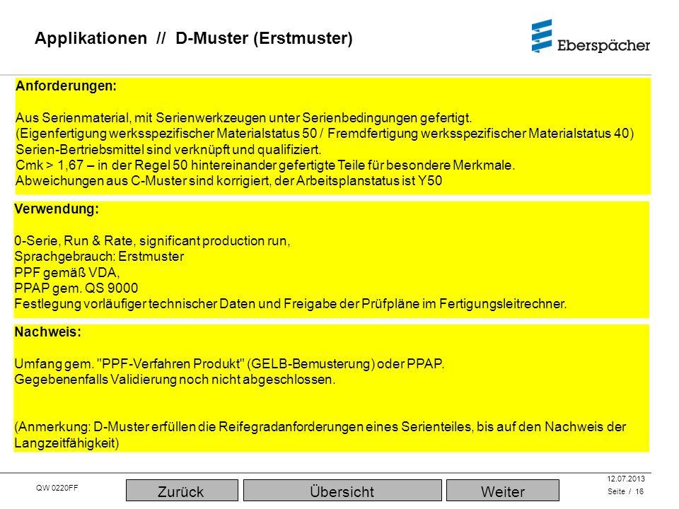 QW 0220FF QEC / PLA 12.07.2013 Applikationen // D-Muster (Erstmuster) Seite / 16 ÜbersichtWeiterZurück Verwendung: 0-Serie, Run & Rate, significant production run, Sprachgebrauch: Erstmuster PPF gemäß VDA, PPAP gem.