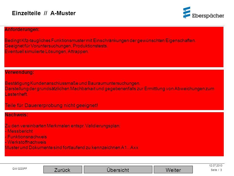 QW 0220FF QEC / PLA 12.07.2013 Einzelteile // A-Muster Seite / 3 Verwendung: Bestätigung Kundenanschlussmaße und Bauraumuntersuchungen. Darstellung de