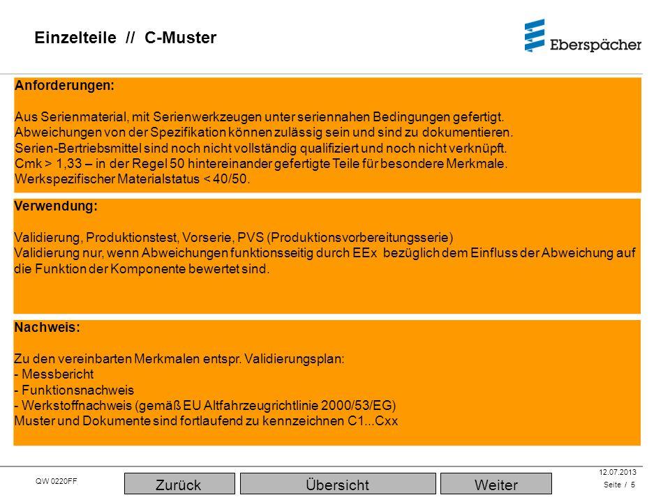 QW 0220FF QEC / PLA 12.07.2013 Einzelteile // D-Muster (Erstmuster) Seite / 6 Verwendung: 0-Serie, Run & Rate, significant production run, Sprachgebrauch: Erstmuster - PPF gemäß VDA, - PPAP gem.