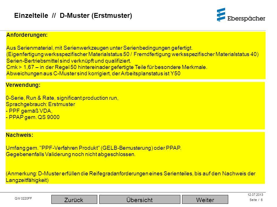 QW 0220FF QEC / PLA 12.07.2013 Applikationen // Serienteil Seite / 17 Verwendung: Serienproduktion ÜbersichtWeiterZurück Anforderungen: Aus Serienmaterial (werksspezifischer Materialstaus 50), mit Serienwerkzeugen unter Serienbedingungen (Arbeitsplanstatus Y51/Y52) gefertigt.