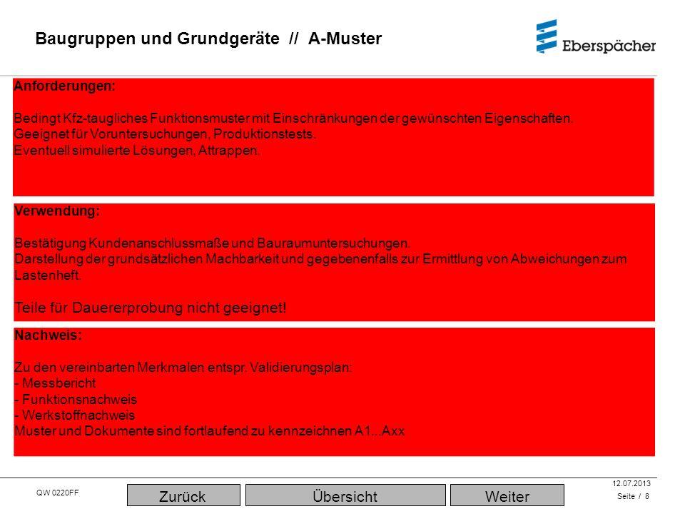 QW 0220FF QEC / PLA 12.07.2013 Baugruppen und Grundgeräte // A-Muster Seite / 8 Verwendung: Bestätigung Kundenanschlussmaße und Bauraumuntersuchungen.