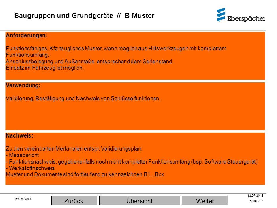 QW 0220FF QEC / PLA 12.07.2013 Baugruppen und Grundgeräte // B-Muster Seite / 9 Verwendung: Validierung, Bestätigung und Nachweis von Schlüsselfunktio