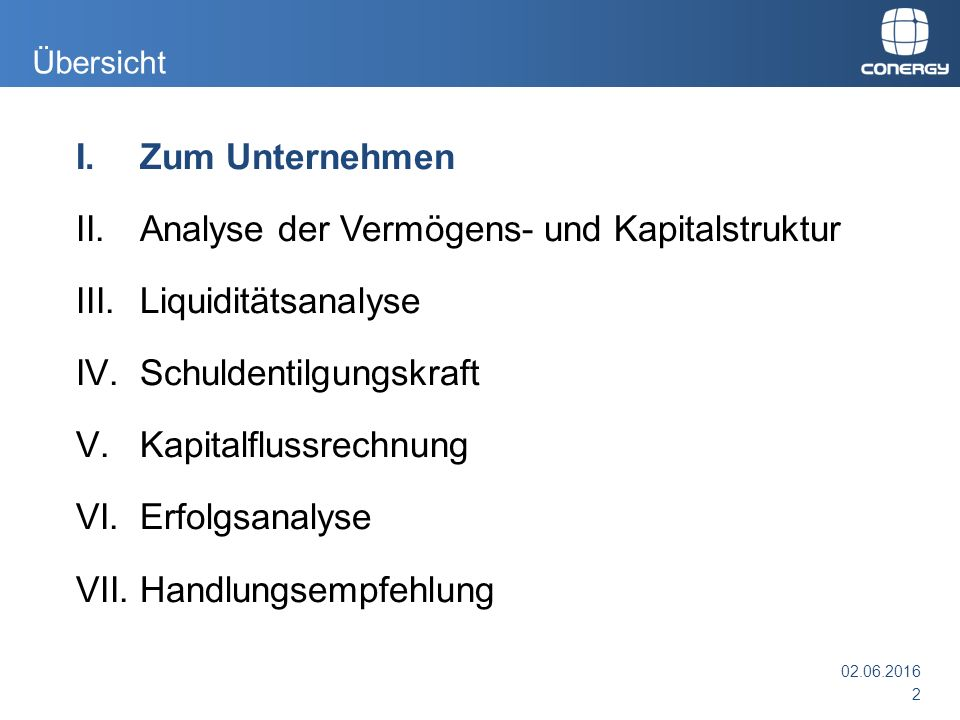 1.Conergy AG - Eckdaten  Hauptsitz: Hamburg  Mitarbeiter: ca.