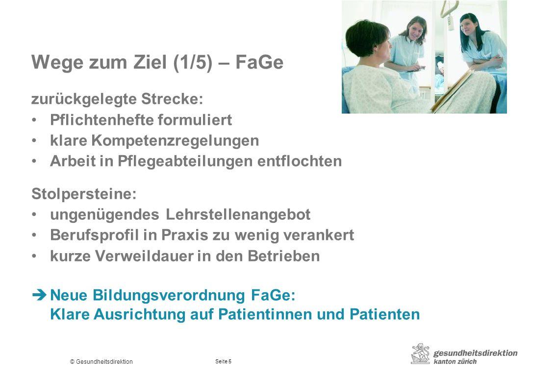 © Gesundheitsdirektion Seite 5 Wege zum Ziel (1/5) – FaGe zurückgelegte Strecke: Pflichtenhefte formuliert klare Kompetenzregelungen Arbeit in Pflegea