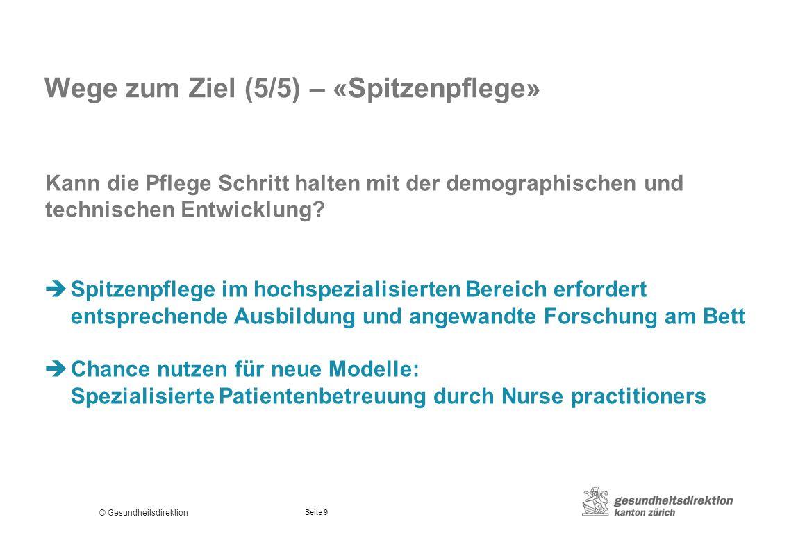 © Gesundheitsdirektion Seite 9 Wege zum Ziel (5/5) – «Spitzenpflege» Kann die Pflege Schritt halten mit der demographischen und technischen Entwicklun