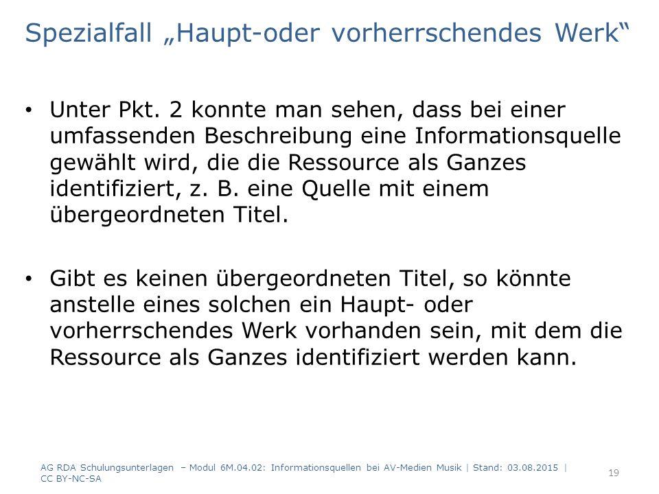 """Spezialfall """"Haupt-oder vorherrschendes Werk Unter Pkt."""