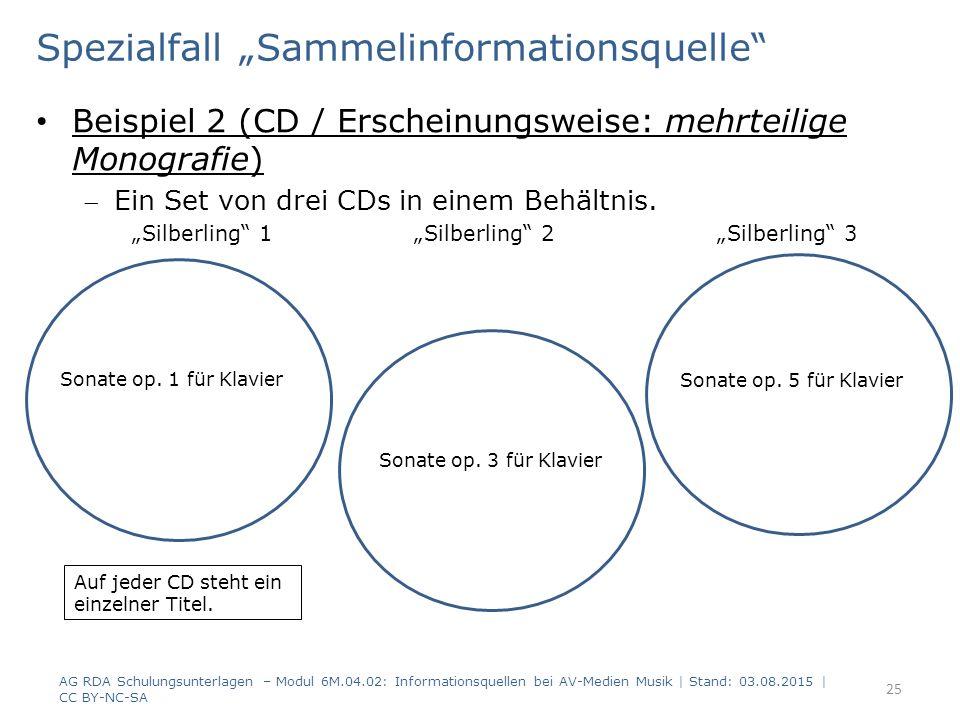 """Spezialfall """"Sammelinformationsquelle Beispiel 2 (CD / Erscheinungsweise: mehrteilige Monografie) Ein Set von drei CDs in einem Behältnis."""