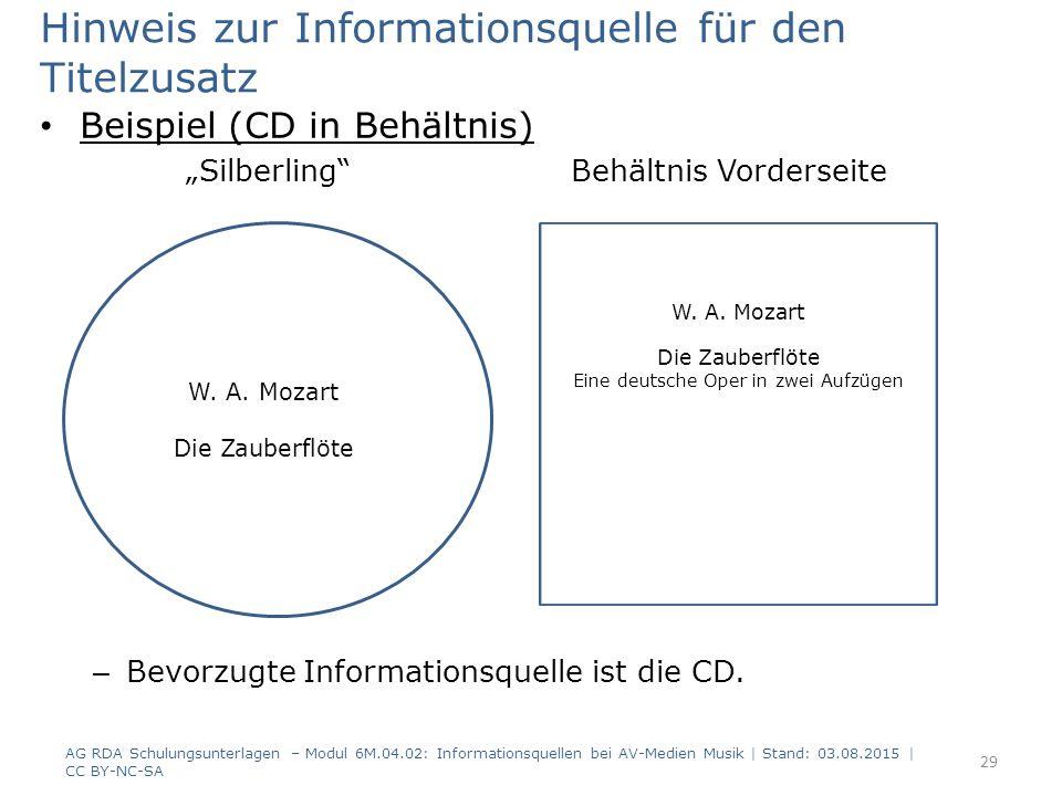 """Hinweis zur Informationsquelle für den Titelzusatz Beispiel (CD in Behältnis) """"Silberling Behältnis Vorderseite – Bevorzugte Informationsquelle ist die CD."""