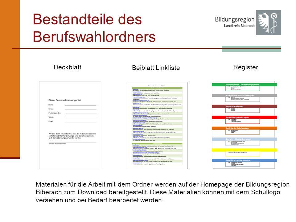 Bestandteile des Berufswahlordners Deckblatt Beiblatt Linkliste Register Materialen für die Arbeit mit dem Ordner werden auf der Homepage der Bildungsregion Biberach zum Download bereitgestellt.