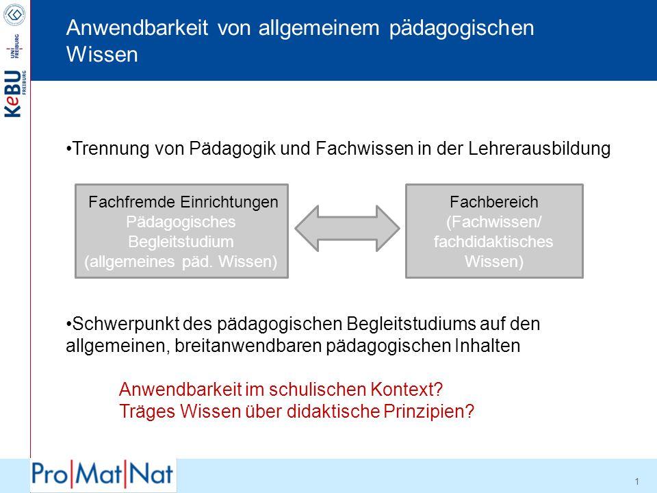 Zwischenfazit II !Lehrer besitzen nach der Ausbildung vor allem allgemeines pädagogisches Wissen.