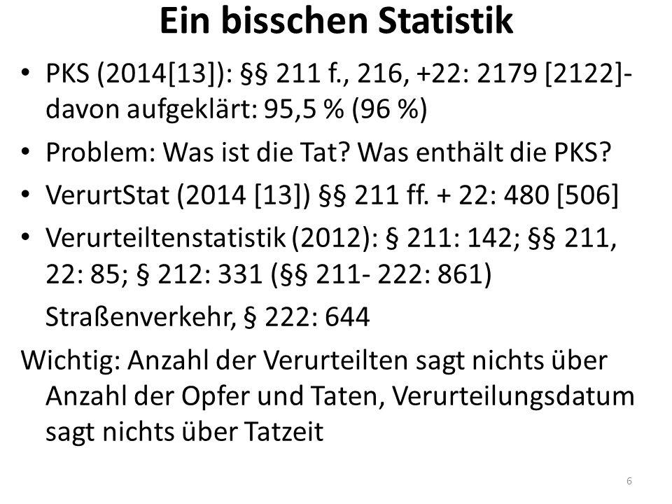 Ein bisschen Statistik PKS (2014[13]): §§ 211 f., 216, +22: 2179 [2122]- davon aufgeklärt: 95,5 % (96 %) Problem: Was ist die Tat? Was enthält die PKS