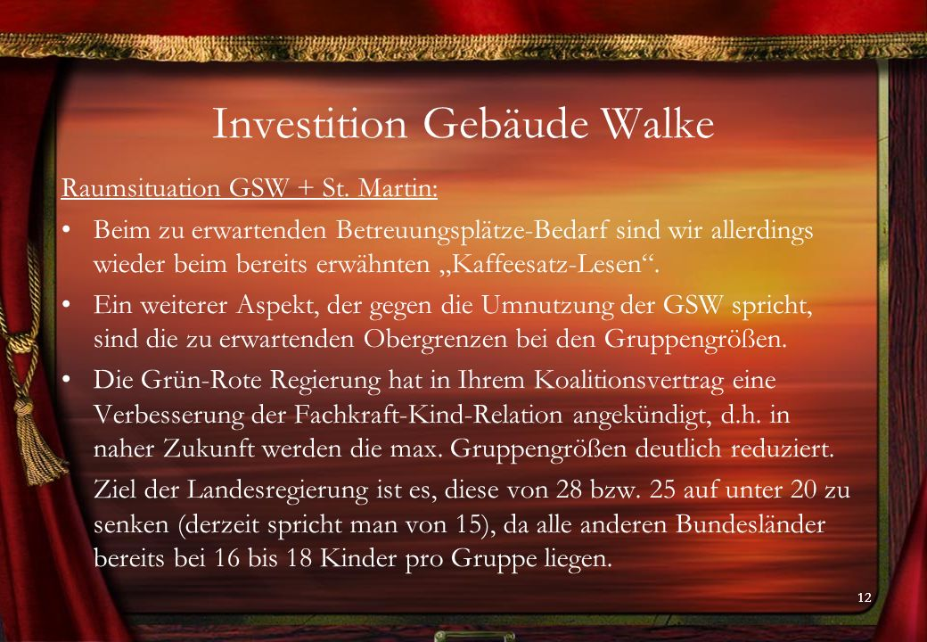 12 Investition Gebäude Walke Raumsituation GSW + St.