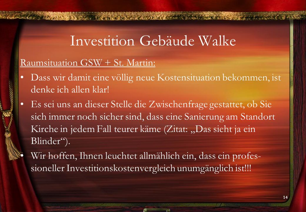 14 Investition Gebäude Walke Raumsituation GSW + St.