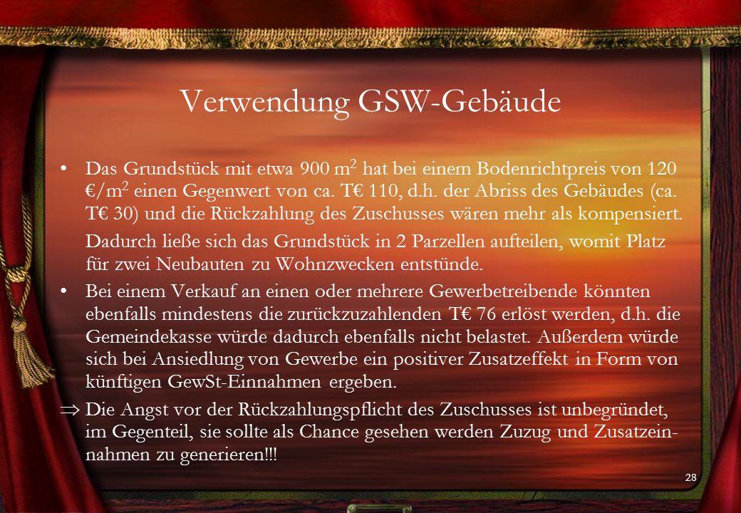 28 Verwendung GSW-Gebäude Das Grundstück mit etwa 900 m 2 hat bei einem Bodenrichtpreis von 120 €/m 2 einen Gegenwert von ca.