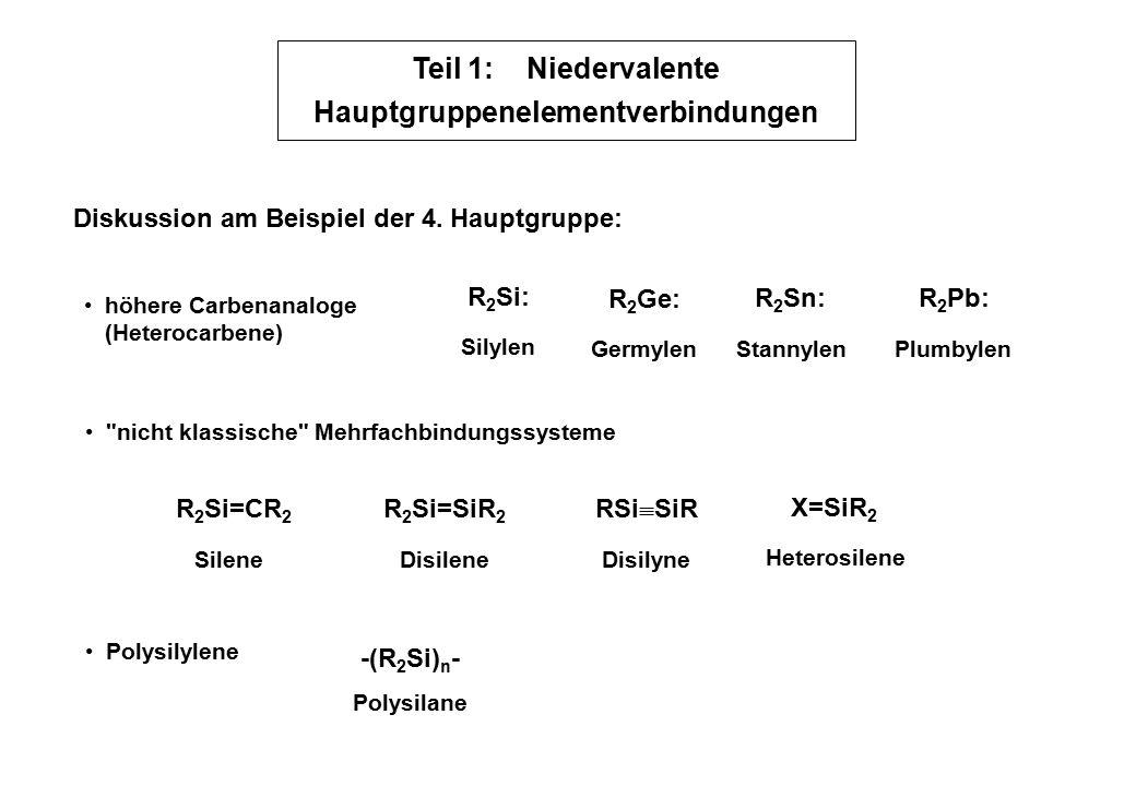 Teil 1: Niedervalente Hauptgruppenelementverbindungen höhere Carbenanaloge (Heterocarbene) nicht klassische Mehrfachbindungssysteme R 2 Si=CR 2 Heterosilene Polysilylene Diskussion am Beispiel der 4.