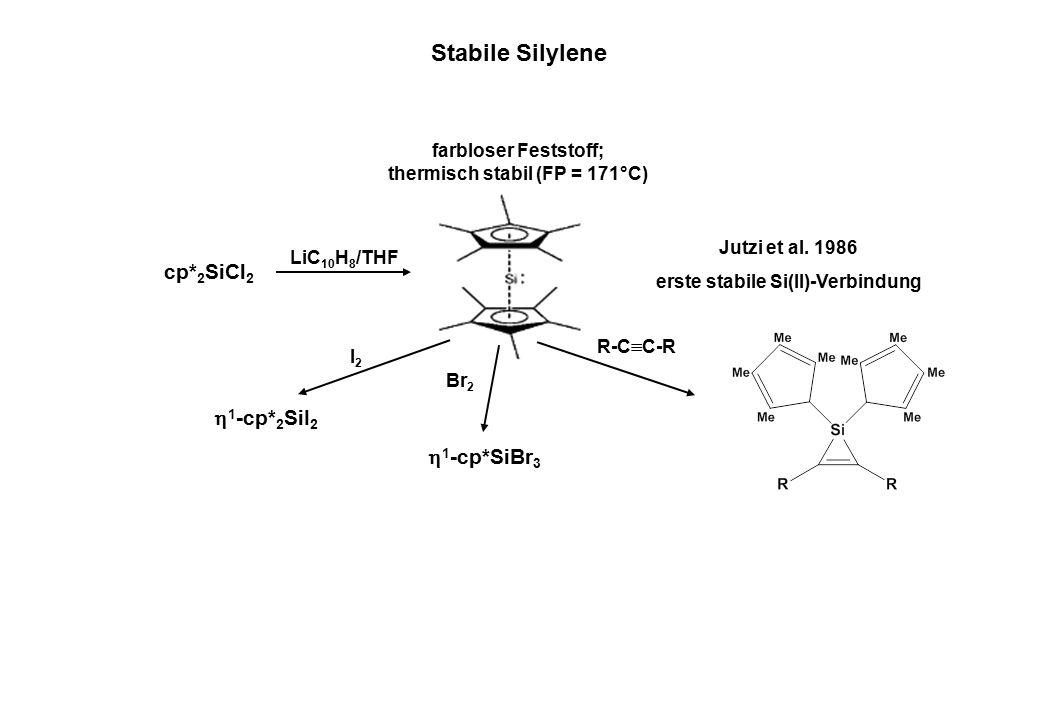 cp* 2 SiCl 2 LiC 10 H 8 /THF Jutzi et al. 1986 erste stabile Si(II)-Verbindung farbloser Feststoff; thermisch stabil (FP = 171°C) I2I2  1 -cp* 2 SiI