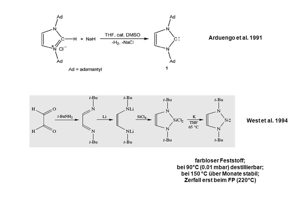 Arduengo et al. 1991 West et al. 1994 farbloser Feststoff; bei 90°C (0.01 mbar) destillierbar; bei 150 °C über Monate stabil; Zerfall erst beim FP (22