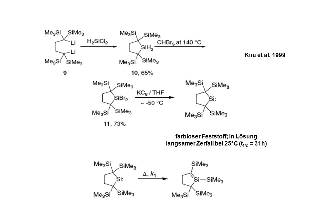 Kira et al. 1999 farbloser Feststoff; in Lösung langsamer Zerfall bei 25°C (t 1/2 = 31h)