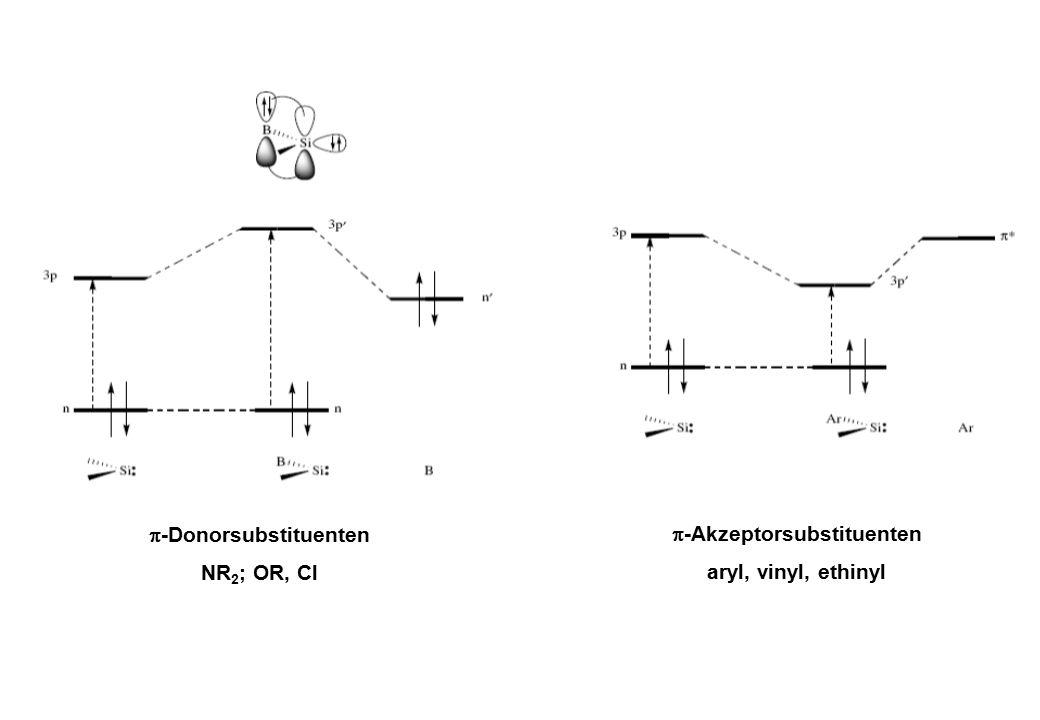  -Donorsubstituenten NR 2 ; OR, Cl  -Akzeptorsubstituenten aryl, vinyl, ethinyl