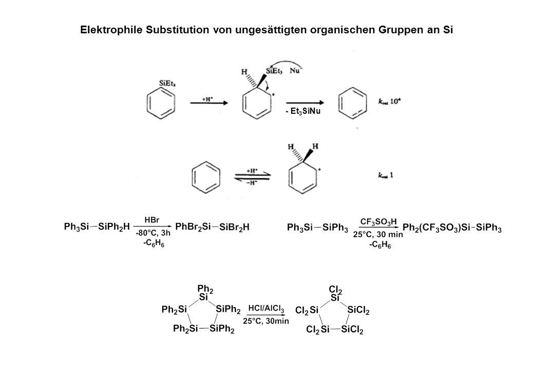 Elektrophile Substitution von ungesättigten organischen Gruppen an Si - Et 3 SiNu