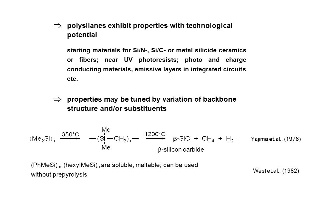  polysilanes exhibit properties with technological potential starting materials for Si/N-, Si/C- or metal silicide ceramics or fibers; near UV photor