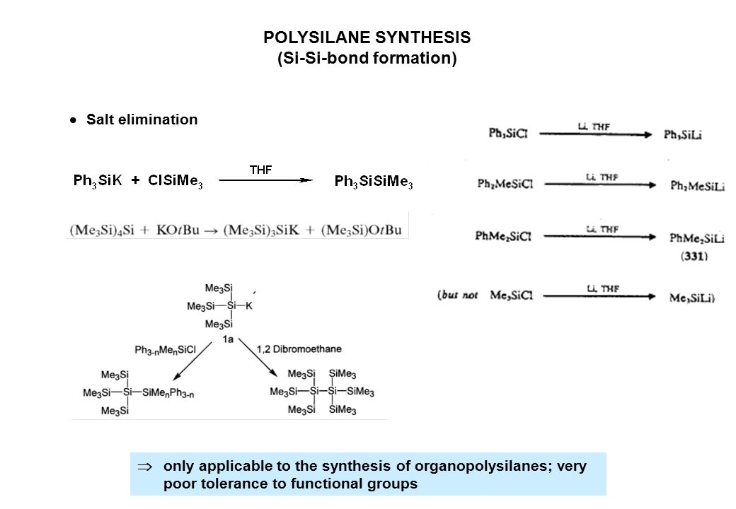 POLYSILANE SYNTHESIS (Si-Si-bond formation)  only applicable to the synthesis of organopolysilanes; very poor tolerance to functional groups  Salt e