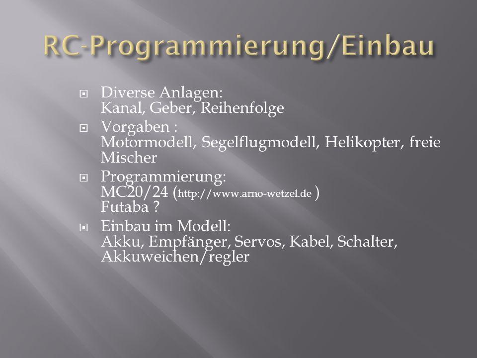  Diverse Anlagen: Kanal, Geber, Reihenfolge  Vorgaben : Motormodell, Segelflugmodell, Helikopter, freie Mischer  Programmierung: MC20/24 ( http://www.arno-wetzel.de ) Futaba .